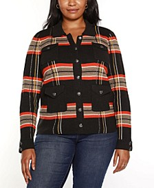Black Label Plus Size Contrast Collar Plaid Sweater Jacket