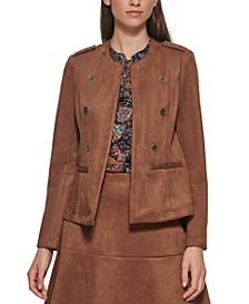 Open-Front Faux-Suede Jacket