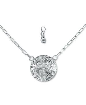 Cubic Zirconia Cross Disc Pendant Necklace