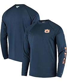Men's PFG Navy Auburn Tigers Terminal Tackle Omni-Shade Long Sleeve T-shirt