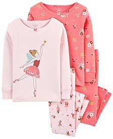 Toddler Girls Snug Fit Cotton Pajama, 4 Piece Set