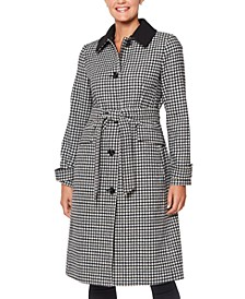 Gingham Faux-Fur Collar Belted Coat