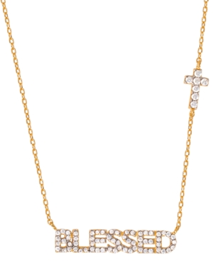 """Cubic Zirconia Blessed Cross 18"""" Pendant Necklace in 18k Gold-Plated Sterling Silver"""