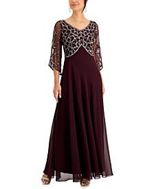 Embellished Long Empire-Waist Dress