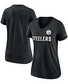 Women's Black Pittsburgh Steelers Team Name Logo V-Neck Tri-Blend T-shirt
