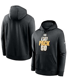 Men's Black Green Bay Packers Fan Gear Local Club Go Pack Go Pullover Hoodie