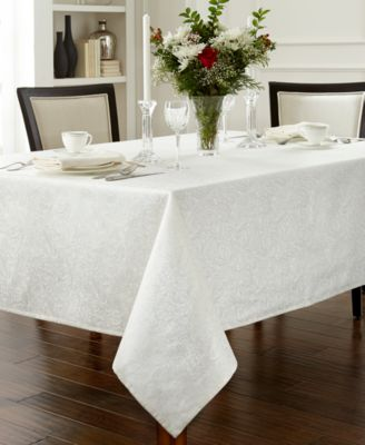 "Chelsea 70"" x 104"" Pearl Tablecloth"