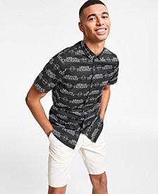 Men's All-Over Striped Logo Woven Short-Sleeve Shirt, Created for Macy's