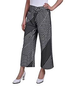 Petite Cropped Pull On Pants with Faux Belt