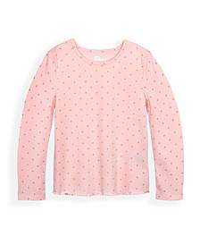 Little Girls Ballet Long Sleeve Polka Dot T-shirt