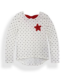 Little Girls Seeing Red Long Sleeve All Over Print Bow Back T-shirt