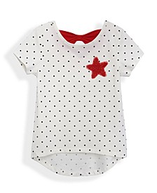 Little Girls Seeing Red Short Sleeve All Over Print Bow Back T-shirt