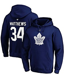 Men's Auston Matthews Blue Toronto Maple Leafs Authentic Stack Player Name and Number Pullover Hoodie