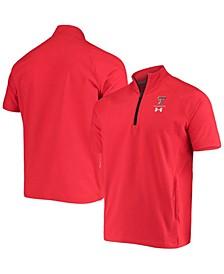 Men's Red Texas Tech Red Raiders Squad Coaches Short Sleeve Quarter-Zip Jacket