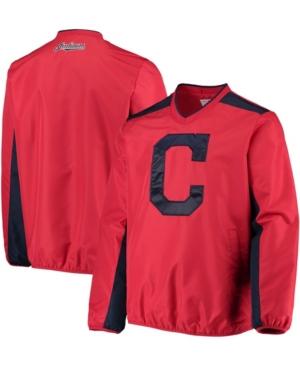 Men's Red Cleveland Indians V-Neck Trainer Pullover Jacket