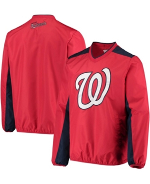 Men's Big and Tall Red Washington Nationals V-Neck Trainer Pullover Jacket