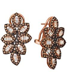 Chocolate Diamond (1-5/8 ct. t.w.) & Nude Diamond (1/2 ct. t.w.) Leaf Motif Drop Earrings in 14k Rose Gold