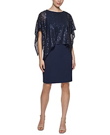 Sequin-Overlay Sheath Dress