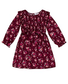 Little Girls Floral Dress with Ruffle Sleeve