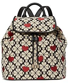 Spade Flower Hearts Medium Flap Backpack