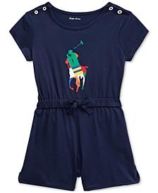 Baby Girls Big Pony Cotton Jersey Romper