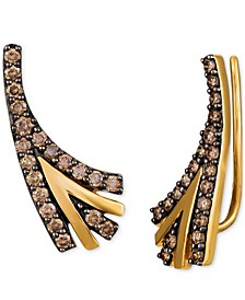 Chocolatier® Chocolate Diamond Ear Climbers (3/4 ct. t.w.) in 14K Gold