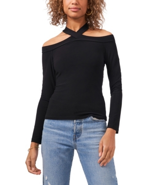 1.state Long Sleeve Cross Neck Top