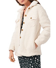 Front Pocket Button Up Sherpa Jacket