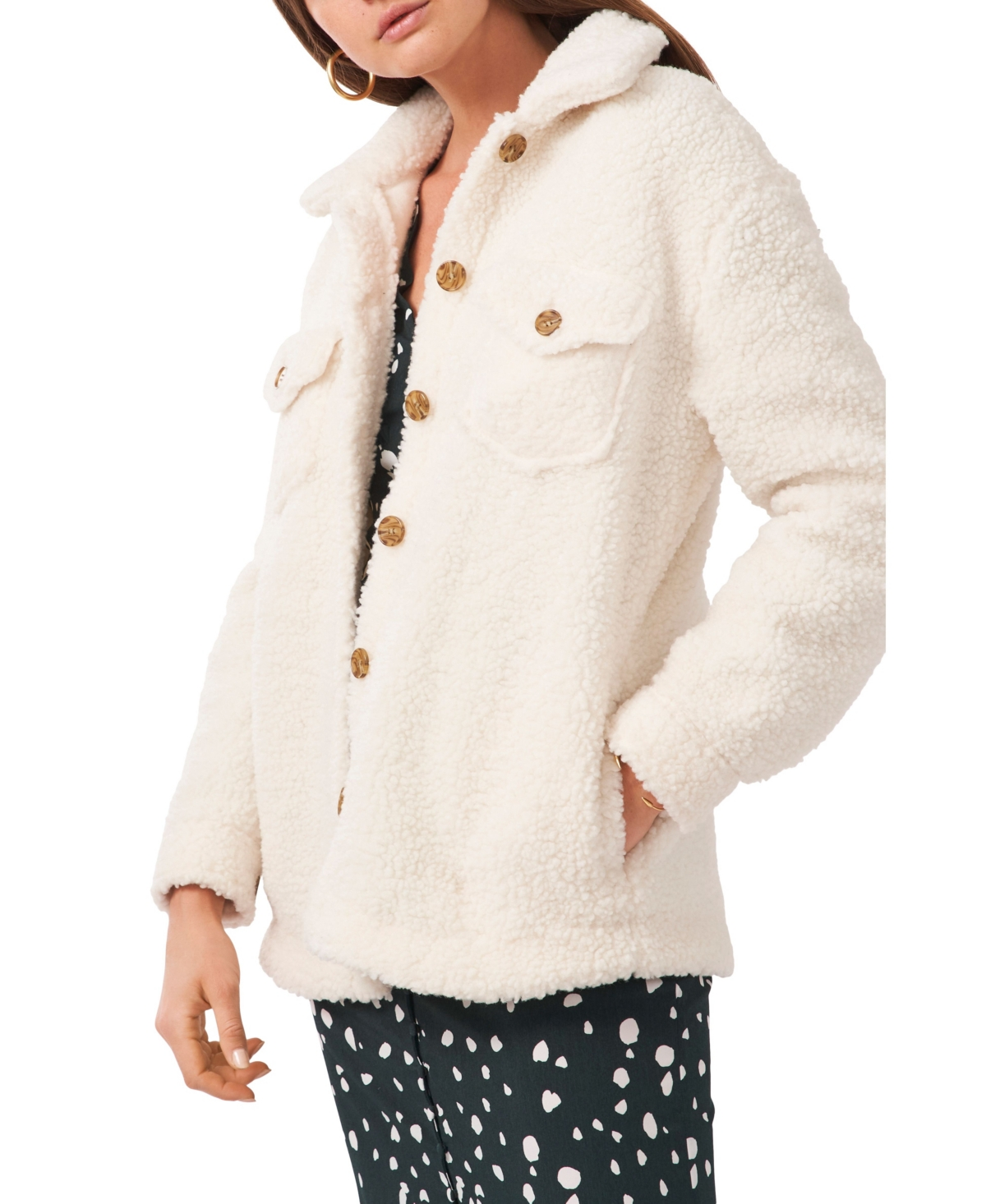 1.state Front Pocket Button Up Sherpa Jacket