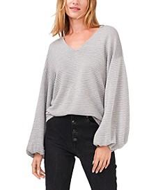 Lurex V-Neck Bubble Sleeve Sweater