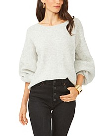 Cross Back Crewneck Bubble Sleeve Sweater