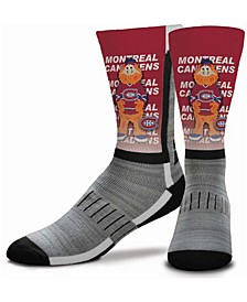 Youth Girls and Boys Multi Montreal Canadiens Mascot V-Curve Crew Socks
