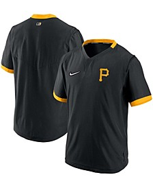 Men's Black, Gold-Tone Pittsburgh Pirates Authentic Collection Short Sleeve Hot Pullover Jacket