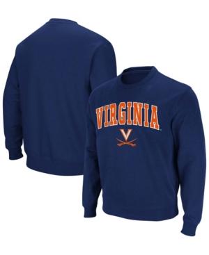 Men's Navy Virginia Cavaliers Team Arch Logo Tackle Twill Pullover Sweatshirt