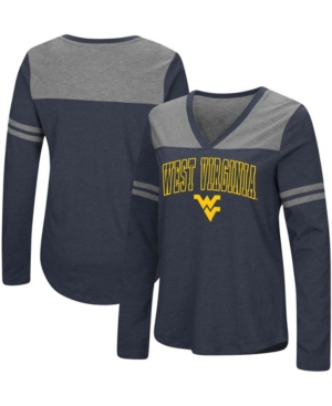 Women's Navy West Virginia Mountaineers Core Heritage Arch Logo V-Neck Long Sleeve T-shirt
