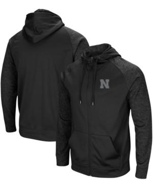 Men's Black Nebraska Huskers Blackout 3.0 Tonal Raglan Full-Zip Hoodie