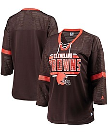 Women's Brown Cleveland Browns Lead Game Lace-Up V-Neck 3/4 Sleeve T-shirt