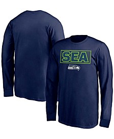 Youth Boys College Navy Seattle Seahawks Squad Throwback Long Sleeve T-shirt