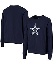 Youth Boys Navy Dallas Cowboys Team Logo Long Sleeve T-shirt