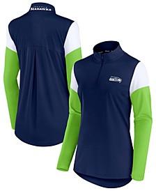 Women's College Navy, Neon Green Seattle Seahawks Block Party Team Authentic Quarter-Zip Jacket