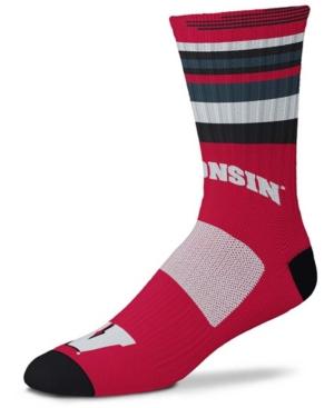 Men's and Women's Wisconsin Badgers Rave Red Crew Socks