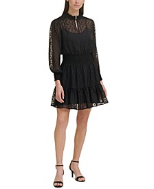 Clip-Dot Smocked-Waist Dress