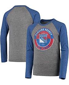 Youth Big Boys Blue New York Rangers Rink Splitter Tri-Blend Raglan Long Sleeve T-Shirt