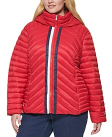 Plus Size Packable Hooded Puffer Jacket