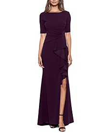 Petite Ruffled Ruched Gown