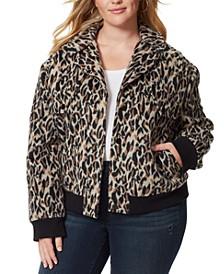 Trendy Plus Size Hollis Fuzzy Bomber Jacket