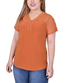 Plus Size Add Some Bling to Your Wardrobe with this Studded Top from Ny Collection