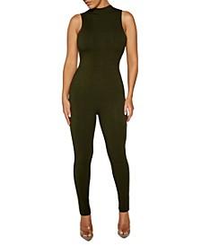 Mock-Neck Sleeveless Jumpsuit