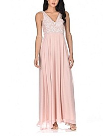 Women's Embroidered Lace Maxi Dress