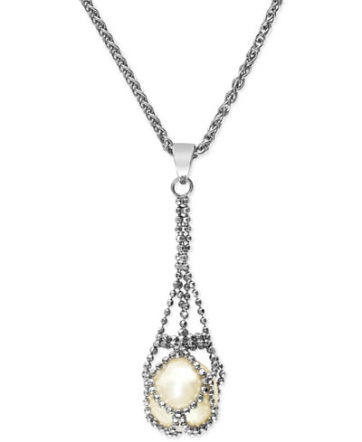 Pearl lace by effy cultured freshwater pearl cage pendant necklace pearl lace by effy cultured freshwater pearl cage pendant necklace in sterling silver 11 mozeypictures Image collections